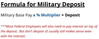 Formula for Military Buyback towards Federal Retirement